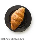 Купить «Tasty buttery croissant on plate.», фото № 28023270, снято 20 февраля 2018 г. (c) PantherMedia / Фотобанк Лори