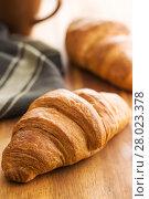 Купить «Tasty buttery croissant.», фото № 28023378, снято 20 февраля 2018 г. (c) PantherMedia / Фотобанк Лори