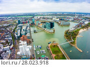 Купить «Dusseldorf, Media Harbour with contemporary architecture, Medienhafen , Nordrhein-Westfalen, Germany, Europe», фото № 28023918, снято 11 декабря 2018 г. (c) PantherMedia / Фотобанк Лори