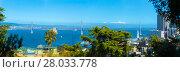 Купить «Panoramic View Bay Bridge Telephoto San Francisco», фото № 28033778, снято 19 июля 2018 г. (c) PantherMedia / Фотобанк Лори
