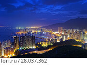 Купить «Tuen Mun skyline and South China sea at night», фото № 28037362, снято 24 мая 2019 г. (c) PantherMedia / Фотобанк Лори