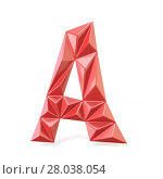 Купить «Red modern triangular font letter A. 3D», фото № 28038054, снято 19 сентября 2019 г. (c) PantherMedia / Фотобанк Лори