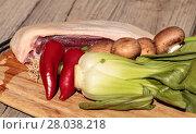 Купить «Raw duck breast and veggies», фото № 28038218, снято 19 июня 2019 г. (c) PantherMedia / Фотобанк Лори