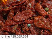Купить «Sundried red tomatoes on retail food market», фото № 28039554, снято 20 июля 2019 г. (c) PantherMedia / Фотобанк Лори