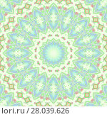 Купить «Abstract geometric seamless background multicolored. Regular concentric ornament with ellipses and diamond pattern in beige, mint green, purple and violet.», фото № 28039626, снято 21 октября 2018 г. (c) PantherMedia / Фотобанк Лори