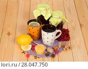 Купить «Jars with jam, cup of tea with lemon, honey and spices on table», фото № 28047750, снято 25 октября 2013 г. (c) Сергей Молодиков / Фотобанк Лори