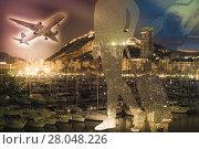 Купить «Figure of traveler against background», фото № 28048226, снято 14 апреля 2014 г. (c) Яков Филимонов / Фотобанк Лори