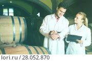 Купить «Two friendly wine house workers checking quality of product», фото № 28052870, снято 21 сентября 2016 г. (c) Яков Филимонов / Фотобанк Лори