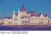 Купить «Parliament of Budapest», фото № 28053202, снято 4 ноября 2017 г. (c) Яков Филимонов / Фотобанк Лори