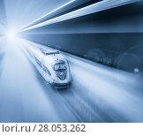 Купить «Speed of train traveling», фото № 28053262, снято 4 марта 2013 г. (c) Яков Филимонов / Фотобанк Лори