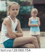 Купить «Two quarreled little girls», фото № 28060154, снято 20 июля 2017 г. (c) Яков Филимонов / Фотобанк Лори