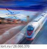 Купить «Speed of train and plane traveling», фото № 28060370, снято 16 октября 2018 г. (c) Яков Филимонов / Фотобанк Лори