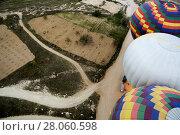 Top view on the balloons preparing for flight. Стоковое фото, фотограф Елена Антипина / Фотобанк Лори