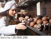 shopgirl posing with delicious chocolate. Стоковое фото, фотограф Татьяна Яцевич / Фотобанк Лори