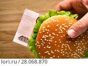 Купить «Burger with one hundred ruble bill instead a meat cutlet in girl's hand», фото № 28068870, снято 11 февраля 2018 г. (c) Георгий Дзюра / Фотобанк Лори