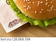 Купить «Burger with one hundred russian ruble bill», фото № 28069194, снято 11 февраля 2018 г. (c) Георгий Дзюра / Фотобанк Лори
