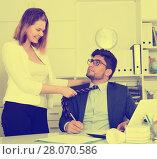 Купить «Sexual harassment between colleagues», фото № 28070586, снято 1 июня 2017 г. (c) Яков Филимонов / Фотобанк Лори