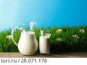 Купить «Glass of milk and jar on flower meadow», фото № 28071178, снято 3 апреля 2014 г. (c) Иван Михайлов / Фотобанк Лори
