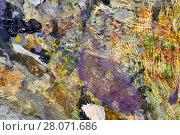 Купить «Palette of an artist close up», фото № 28071686, снято 11 февраля 2018 г. (c) Георгий Дзюра / Фотобанк Лори