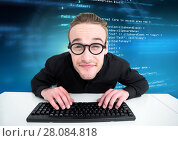Купить «Man typing coding text», фото № 28084818, снято 14 августа 2018 г. (c) Wavebreak Media / Фотобанк Лори