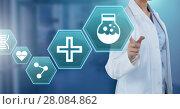 Купить «Female doctor interacting with medical hexagon interface», фото № 28084862, снято 8 июля 2020 г. (c) Wavebreak Media / Фотобанк Лори