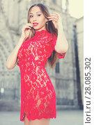 Купить «close-up portrait of young slim adult girl in sexy evening apparel», фото № 28085302, снято 24 июня 2017 г. (c) Яков Филимонов / Фотобанк Лори
