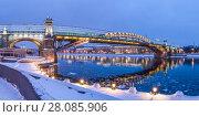 Купить «Москва, Пушкинский (Андреевский) пешеходный мост зимним вечером, ночная подсветка», эксклюзивное фото № 28085906, снято 18 февраля 2018 г. (c) Виктор Тараканов / Фотобанк Лори