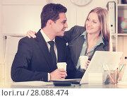 Купить «Sexual harassment between colleagues», фото № 28088474, снято 20 апреля 2017 г. (c) Яков Филимонов / Фотобанк Лори