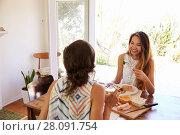 Купить «Two Female Friends Enjoying Meal At Home Together», фото № 28091754, снято 2 сентября 2016 г. (c) easy Fotostock / Фотобанк Лори