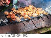 Купить «Appetizing hot shish kebab on metal skewers», фото № 28094102, снято 21 июня 2014 г. (c) FotograFF / Фотобанк Лори