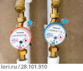 Купить «Water meters. Counters of hot and cold water», фото № 28101910, снято 17 августа 2017 г. (c) FotograFF / Фотобанк Лори