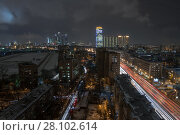 Купить «Residential district and third transport ring in Moscow, Russia, night view», фото № 28102614, снято 25 ноября 2015 г. (c) Losevsky Pavel / Фотобанк Лори