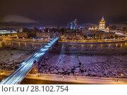 Купить «Smolensky Metro Bridge and river at winter night in Moscow, Russia, long exposure», фото № 28102754, снято 19 января 2016 г. (c) Losevsky Pavel / Фотобанк Лори