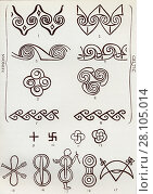 Decorative Motifs and Symbols, from the book Myths of Crete and Pre-Hellenic Europe by Donald A Mackenzie. Figs 1 to 8. Minoan and Celtic patterns compared... Редакционное фото, фотограф Classic Vision / age Fotostock / Фотобанк Лори