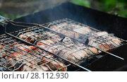 Купить «barbecue of pork cooked on the grill», видеоролик № 28112930, снято 10 июня 2017 г. (c) Володина Ольга / Фотобанк Лори