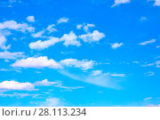 Купить «Blue sky with clouds», фото № 28113234, снято 6 августа 2017 г. (c) Роман Сигаев / Фотобанк Лори