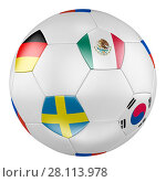 3D soccer ball with group F flags of Germany, Mexico, Sweden, Korea Republic on white background. Стоковая иллюстрация, иллюстратор LVV / Фотобанк Лори