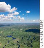 Купить «Forest plain with river», фото № 28115894, снято 20 июня 2017 г. (c) Владимир Мельников / Фотобанк Лори