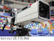 Купить «Professional camera at basketball game in modern stadium, shallow dof», фото № 28115966, снято 27 января 2017 г. (c) Losevsky Pavel / Фотобанк Лори
