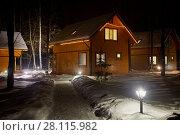 Купить «Illuminated wooden houses on winter evening among trees», фото № 28115982, снято 3 февраля 2017 г. (c) Losevsky Pavel / Фотобанк Лори