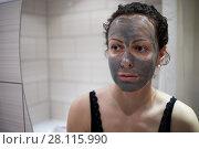 Купить «Woman with hygiene clay mask applied on face», фото № 28115990, снято 3 февраля 2017 г. (c) Losevsky Pavel / Фотобанк Лори