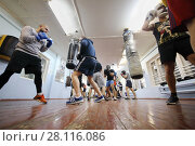 Купить «MOSCOW - FEB 9, 2017: Young men train in Dobrynya boxing club», фото № 28116086, снято 9 февраля 2017 г. (c) Losevsky Pavel / Фотобанк Лори