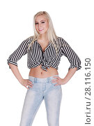 Купить «Young pretty happy blonde in jeans poses isolated on white background», фото № 28116150, снято 31 октября 2016 г. (c) Losevsky Pavel / Фотобанк Лори