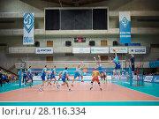 Купить «MOSCOW - NOV 5, 2016: Volleyball game Dynamo (Moscow) and Ural (Ufa) in Palace of Sports Dynamo», фото № 28116334, снято 5 ноября 2016 г. (c) Losevsky Pavel / Фотобанк Лори