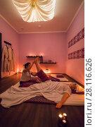 Купить «Asian woman does thai massage for woman on mat in room with canopy», фото № 28116626, снято 13 декабря 2016 г. (c) Losevsky Pavel / Фотобанк Лори