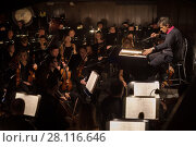 Купить «MOSCOW - JAN 25, 2017: Musicians in orchestra pit at Passenger performance in Moscow Theater New Opera», фото № 28116646, снято 25 января 2017 г. (c) Losevsky Pavel / Фотобанк Лори