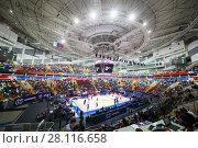 Купить «MOSCOW - JAN 27, 2017: Teans prepare for basketball game CSKA (Moscow) - Anadolu Efes (Istanbul) in Megasport stadium», фото № 28116658, снято 27 января 2017 г. (c) Losevsky Pavel / Фотобанк Лори
