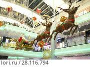 Купить «MOSCOW - DEC 13, 2014: Suspension design Santa Claus on sleigh with deer in the Gallery shopping center Capitol Vernadsky», фото № 28116794, снято 13 декабря 2014 г. (c) Losevsky Pavel / Фотобанк Лори