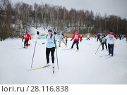 Купить «MOSCOW - FEB 14, 2016: All-Russian mass ski race Ski Track of Russia 2016», фото № 28116838, снято 14 февраля 2016 г. (c) Losevsky Pavel / Фотобанк Лори