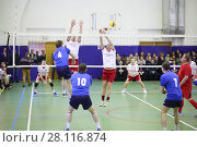 Купить «MOSCOW, RUSSIA - FEB 17, 2016: Team are playing at game (Volleyball with generalship shoulder loops) in Central Customs Administration», фото № 28116874, снято 17 февраля 2016 г. (c) Losevsky Pavel / Фотобанк Лори
